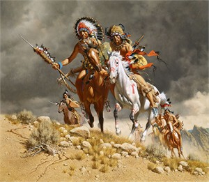 "Frank C. McCarthy Hand Numbered Limited Edition Canvas Giclee: ""Cheyenne War Party"""
