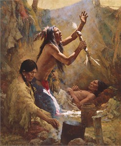 """Howard Terpning Limited Edition Artist Signed Masterwork Anniversary Canvas Giclee:""""Medicine Man of the Cheyenne"""""""