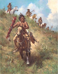 "Howard Terpning Limited Edition Artist Signed Masterwork Canvas Giclee:""The Honor of Being Pipe Carrier"""