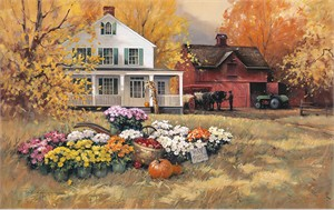 "Paul Laundry Hand Signed and Numbered Limited Edition Canvas Giclee:""Pumpkin Hayride"""