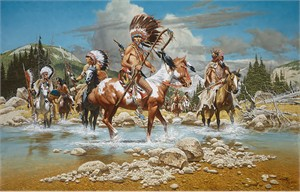 """Frank McCarthy Hand Numbered Limited Edition Canvas Giclee:""""The Chiefs"""""""