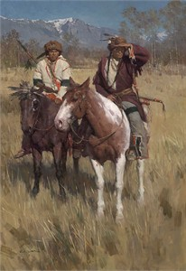 "Z. S. Liang Hand Signed Limited Edition Canvas Giclee: ""Buffalo Scouts, The"""