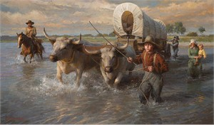 """Morgan Weistling Hand Signed and Numbered Fine Art  Giclee Print:""""Crossing the Cheyenne, Summer, 1850"""""""