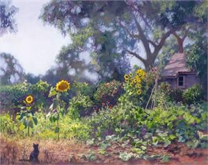 "June Carey Fine Art Open Edition Canvas Giclee:""My Garden"""