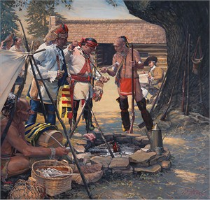 "John Buxton Hand Signed and Numbered Limited Edition Canvas Giclee:""The Ceremonial Pipe"""