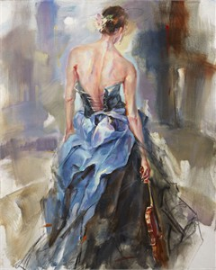 "Anna Razumovskaya Hand Signed and Numbered Limited Editiion Embellsihed Canvas Giclee:""Nuance 4 """