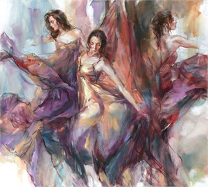 "Anna Razumovskaya Hand Signed and Numbered Limited Editiion Embellsihed Canvas Giclee:""Polyphony"""
