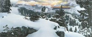 "Stephen Lyman Open Edition Fine Art Anniversary Canvas Giclee:""Early Winter in the Mountains"""