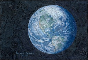 "Alan Bean Hand Signed Limited Edition Gallery Wrap Canvas Giclee:""This Beautiful Planet..."""