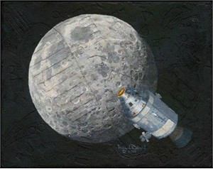 """Alan Bean Hand Signed and Numbered Limited Edition Canvas Giclee:""""Rollin' Home"""""""