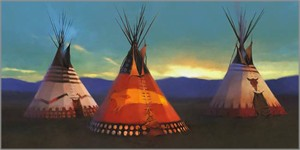"R. Tom Gilleon Hand-signed Oversized Limited Edition Gallery Wrap Canvas Giclee:""Blackfeet Country"""