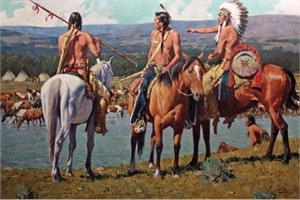 "Howard Terpning Limited Edition Artist Signed and Numbered Canvas Giclee:""Tribal Warfare"""