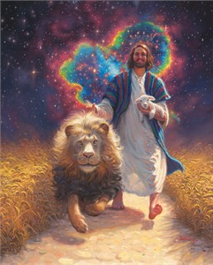 """Mark Keathley Hand Signed and Numbered Limited Edition Embellished Canvas Giclee:""""Lion and the Lamb"""""""