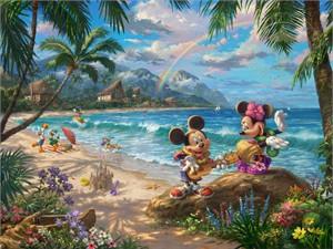 "Thomas Kinkade Disney Limited Edition:""Mickey and Minnie in Hawaii"""