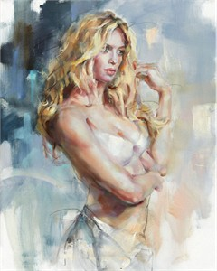 "Anna Razumovskaya Hand Signed and Numbered Limited Editiion Embellsihed Canvas Giclee:""Starry Eyed Again"""