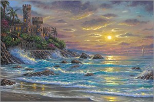 "Robert Finale Hand Signed and Numbered Limited Edition Hand-Embellished Giclee on Canvas:""Spain, Costa Brava"""