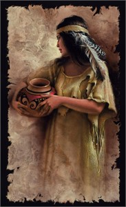 "Lee Bogle Hand Signed and Numbered Limited Edition Canvas Giclee:""Maiden with Clay Pot"""