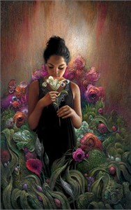 "Lee Bogle Hand Signed and Numbered Limited Edition Canvas Giclee:""White Lily"""
