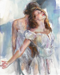 "Anna Razumovskaya Hand Signed and Numbered Limited Editiion Embellsihed Canvas Giclee:""Embrace 1"""