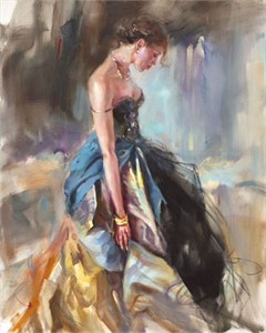"Anna Razumovskaya Hand Signed and Numbered Limited Editiion Embellsihed Canvas Giclee:""Silky Drapes"""