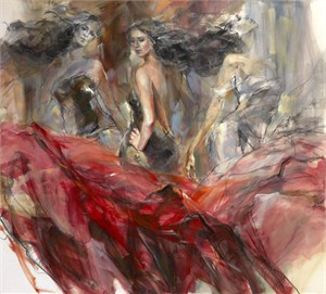 "Anna Razumovskaya Hand Signed and Numbered Limited Editiion Embellsihed Canvas Giclee:""Timeless Journey"""