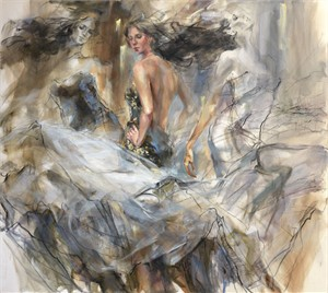 """Anna Razumovskaya Hand Signed and Numbered Limited Editiion Embellsihed Canvas Giclee:""""Timeless Journey (Sepia)"""""""