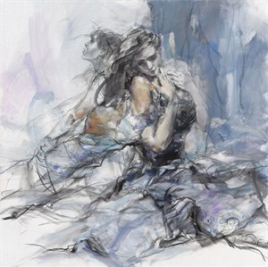 "Anna Razumovskaya Hand Signed and Numbered Limited Editiion Embellsihed Canvas Giclee:""Heartbeat"""
