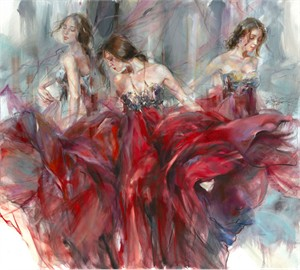 "Anna Razumovskaya Hand Signed and Numbered Limited Editiion Embellsihed Canvas Giclee:""Dimensions"""