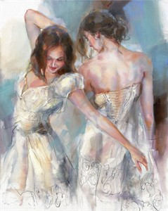 "Anna Razumovskaya Hand Signed and Numbered Limited Editiion Embellsihed Canvas Giclee:""Embrace 2"""