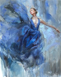 "Anna Razumovskaya Hand Signed and Numbered Limited Editiion Embellsihed Canvas Giclee:""Above"""