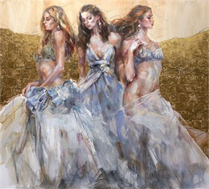 "Anna Razumovskaya Hand Signed and Numbered Limited Editiion Embellsihed Canvas Giclee:""In A Far Away Land"""