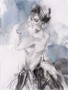 """Anna Razumovskaya Hand Signed and Numbered Limited Editiion Embellsihed Canvas Giclee:""""Blue Fragrance 1"""""""