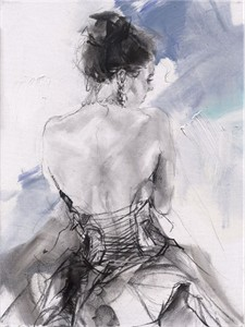 "Anna Razumovskaya Hand Signed and Numbered Limited Editiion Embellsihed Canvas Giclee:""Blue Fragrance 2"""