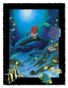 "Wyland Artist Signed Limited Edition Giclee on Hand Deckled Paper:""Ariel's Dolphin Ride"""