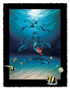 "Wyland Artist Signed Limited Edition Giclee on Hand Deckled Paper:""Ariel's Dolphin Playground"""