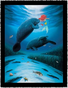"""Wyland Artist Signed Limited Edition Giclee on Hand Deckled Paper:""""Little Mermaid Love"""""""