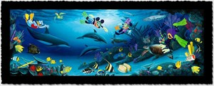 "Wyland Artist Signed Limited Edition Giclee on Hand Deckled Paper:""Disney Dive Buddies"""