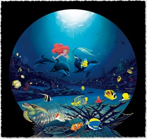"Wyland Artist Signed Limited Edition Giclee on Hand Deckled Paper:""Ariel's Ocean Ride"""