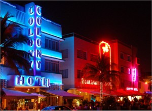 "Gerald Brimacombe Handsigned and Numbered Limited Edition Giclee on Paper:""Florida - Miami -South Beach hotels night LR"""