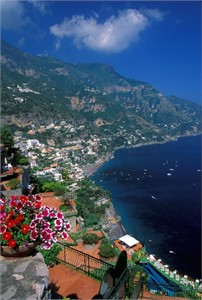"""Gerald Brimacombe Handsigned and Numbered Limited Edition Giclee on Paper:""""Amalfi Coast - with patios Vt"""""""