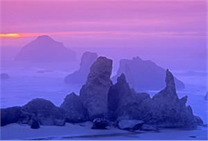 "Gerald Brimacombe Handsigned and Numbered Limited Edition Giclee on Paper:""Oregon - Bandon-by-the-Sea -Sunset rocks 2"""