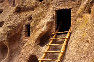 """Gerald Brimacombe Handsigned and Numbered Limited Edition Giclee on Paper:""""Copy of New Mexico - Bandelier NP w. ladder"""""""