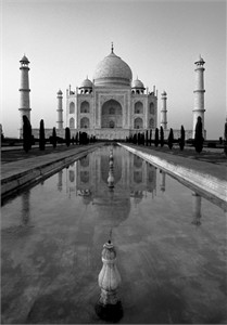 "Gerald Brimacombe Handsigned and Numbered Limited Edition Giclee on Paper:""India - Taj Mahal Vt. sunset B&W"""
