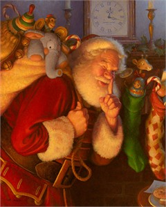 "Scott Gustafson Hand-signed and Numbered Limited Edition Canvas Giclee:""Saint Nick"""