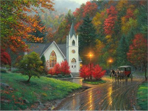 """Mark Keathley Hand Signed and Numbered Limited Edition Embellished Canvas Giclee:""""Autumn Chapel"""""""