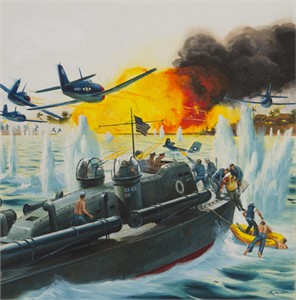 "Mort Künstler Hand Signed and Numbered Limited Edition Canvas Giclee:""Use the Whole Damn Fleet, But Save Ensign Thompson…"""