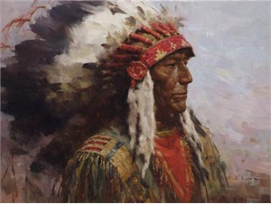"Z.S. Liang Artist Hand-Signed Limited Edition Giclee Canvas:""Brule Warrior"""