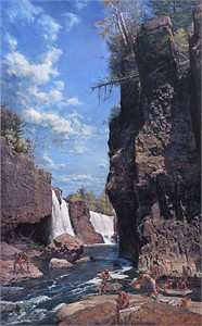 """John Buxton Hand Signed and Numbered Limited Edition Canvas Giclee:""""Great Falls of the Passaic"""""""