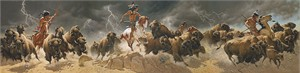 """Frank McCarthy Hand Numbered Museum Edition Canvas Giclee """"Flashes of Lightning, Thunder of Hooves"""""""