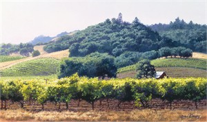 """June Carey Hand Signed and Numbered Limited Edition Canvas Giclee: """"Summer Vineyard"""""""